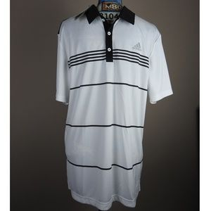 Mens Adidas Golf Polo Shirt Medium Black White